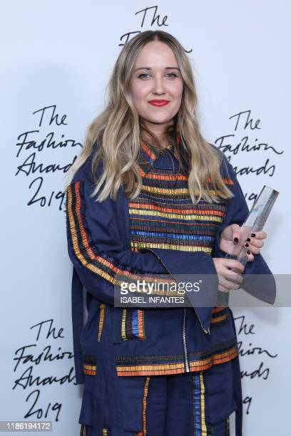 Designer Bethany Williams winner of the British Emerging Talent Menswear award poses for a photograph following their award presentation at The...