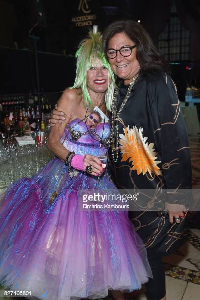 Designer Betsey Johnson and Fern Mallis attend the Accessories Council's 21st Annual celebration of the ACE awards at Cipriani 42nd Street on August...