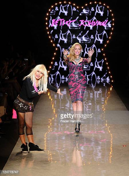 Designer Betsey Johnson and Lulu Johnson walk the runway at the Betsey Johnson Spring 2012 fashion show during MercedesBenz Fashion Week at The...