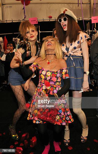 Designer Betsey Johnson and models pose backstage at the Betsey Johnson 2008 fashion show during MercedesBenz Fashion Week Fall 2008 at The Tent at...