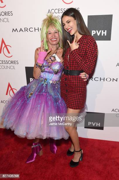 Designer Betsey Johnson and Victoria Justice attends the Accessories Council's 21st Annual celebration of the ACE awards at Cipriani 42nd Street on...