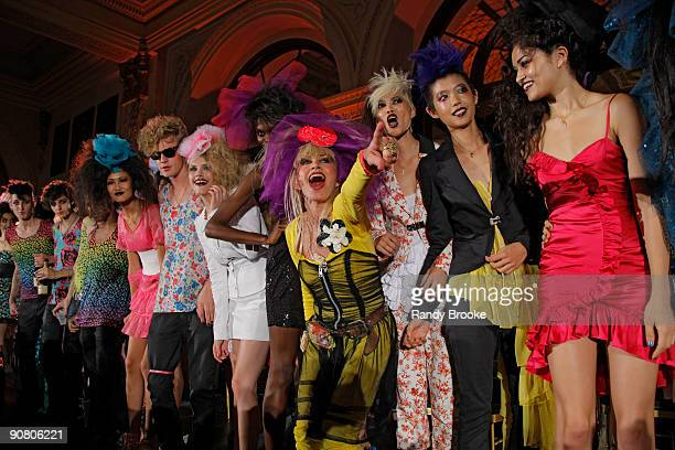 Designer Betsey Johnson appears at her Spring 2010 show during Mercedes-Benz Fashion Week at The Plaza Hotel on September 15, 2009 in New York City.