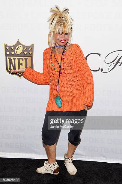 Designer Betsey Johnson attends as the NFL Unveils Super Bowl 50 Bespoke Designer Footballs in collaboration with CFDA at NFL Headquarters on January...