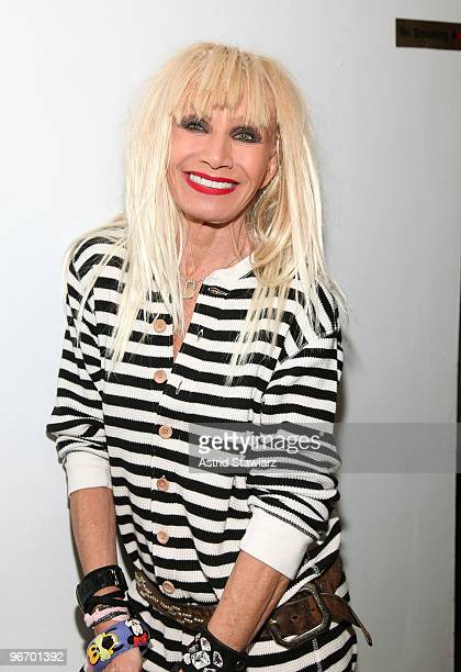 Designer Betsey Johnson backstage at the Betsey Johnson Fall 2010 Fashion Show during MercedesBenz Fashion Week at the Altman Building on February 14...