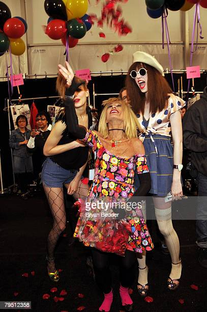 Designer Betsey Johnson backstage the Betsey Johnson 2008 fashion show during MercedesBenz Fashion Week Fall 2008 at The Tent at Bryant Park on...