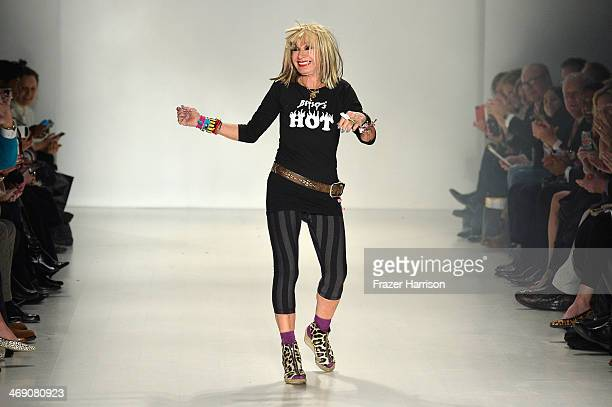 Designer Betsey Johnson cartwheels down the runway at the Marist College Presents Betsey Johnson Reprise fashion show during MercedesBenz Fashion...