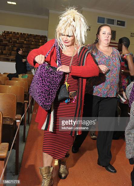 Designer Betsey Johnson makes her way to the MercedesBenz Fashion Week Fall 2012 A Life In Fashion panel at the High School of Fashion Industries on...