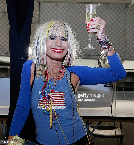 Designer Betsey Johnson poses at her show during Spring 2016 New York Fashion Week The Shows at The Arc Skylight at Moynihan Station on September 11...
