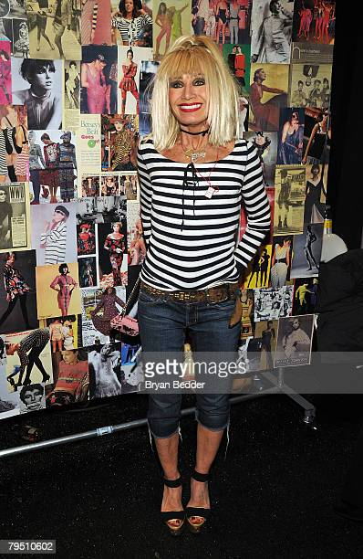 Designer Betsey Johnson poses backstage the Betsey Johnson 2008 fashion show during MercedesBenz Fashion Week Fall 2008 at The Tent at Bryant Park on...