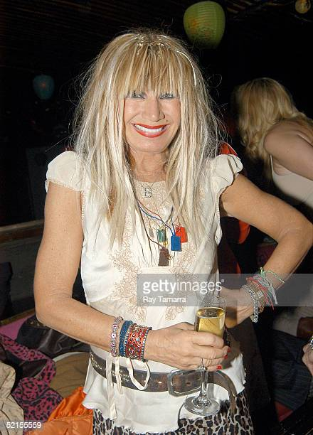 Designer Betsey Johnson poses for photographs at her Fall 2005 Fashion Show After Party at Hiro on February 7 2005 in New York