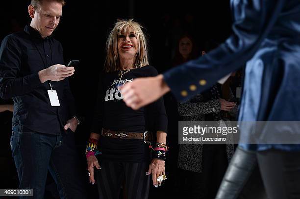 Designer Betsey Johnson prepares backstage at the Betsey Johnson fashion show during MercedesBenz Fashion Week Fall 2014 at The Salon at Lincoln...