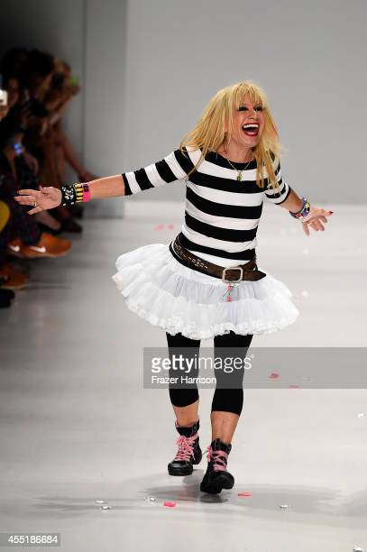 Designer Betsey Johnson walks the runway at the Betsey Johnson fashion show during MercedesBenz Fashion Week Spring 2015 at The Salon at Lincoln...
