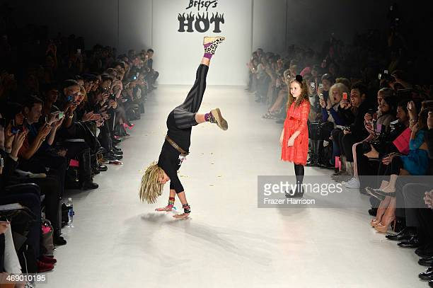 Designer Betsey Johnson walks the runway at the Betsey Johnson fashion show during MercedesBenz Fashion Week Fall 2014 at The Salon at Lincoln Center...