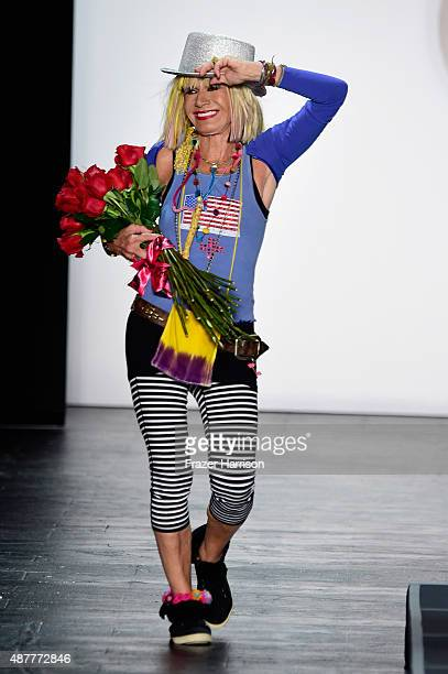 Designer Betsey Johnson walks the runway at the Betsey Johnson fashion show during Spring 2016 New York Fashion Week The Shows at The Arc Skylight at...