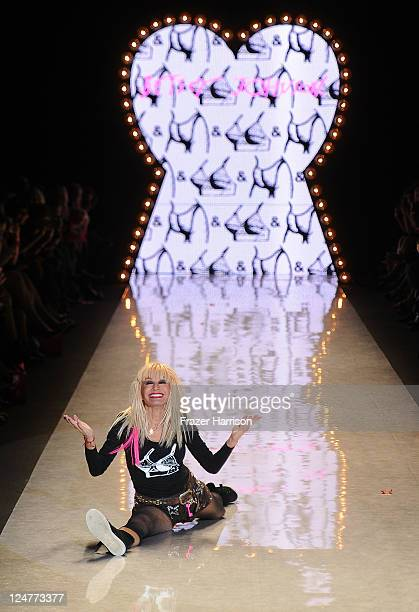Designer Betsey Johnson walks the runway at the Betsey Johnson Spring 2012 fashion show during MercedesBenz Fashion Week at The Theater at Lincoln...