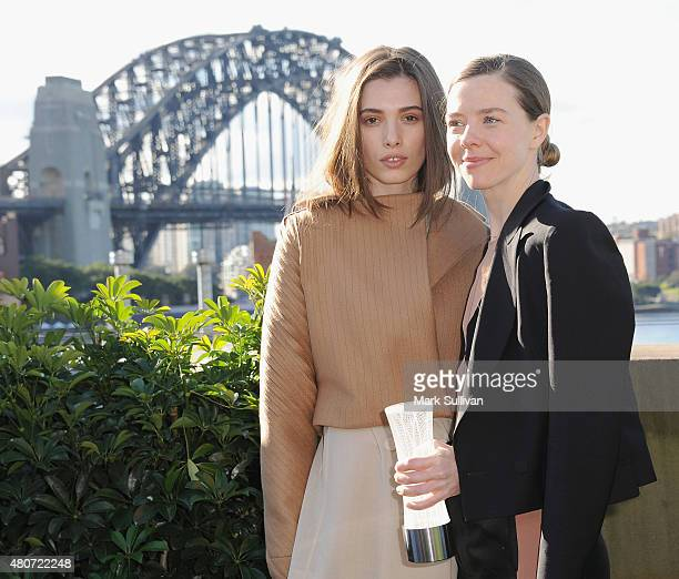 Designer Bianca Spender with model after winning the Australian International Woolmark Prize for womenswear during the International Woolmark Prize...