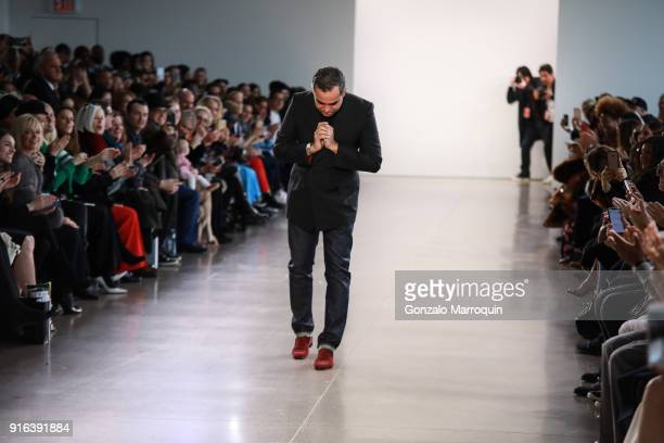 Designer Bibhu Mohapatra at the end of the fashion show for FHI Heat X Bibhu Mohapatra A/W 2018 Runway Show on February 9 2018 in New York City