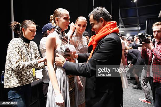 Designer Bibhu Mohapatra attends the Bibhu Mohapatra fashion show during MercedesBenz Fashion Week Fall 2014 at The Pavilion at Lincoln Center on...