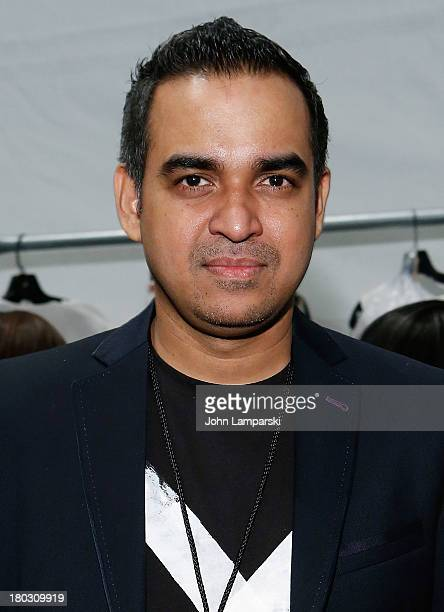Designer Bibhu Mohapatra attends the Bibhu Mohapatra show during Spring 2014 MercedesBenz Fashion Week at The Studio at Lincoln Center on September...
