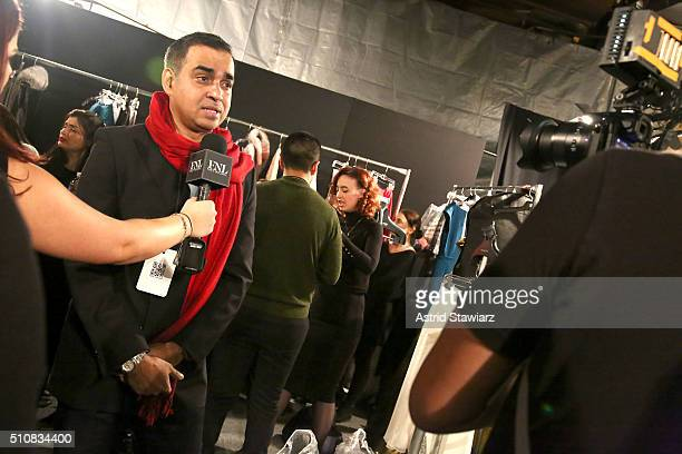 Designer Bibhu Mohapatra backstage at the Bibhu Mohapatra Fall 2016 fashion show during New York Fashion Week The Shows at The Dock Skylight at...