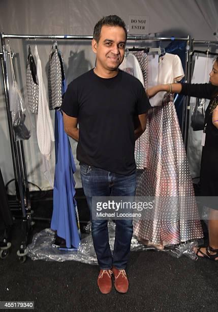 Designer Bibhu Mohapatra poses backstage at the Bibhu Mohapatra fashion show during MercedesBenz Fashion Week Spring 2015 at The Pavilion at Lincoln...