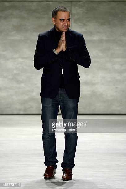 Designer Bibhu Mohapatra walks the runway at the Bibhu Mohapatra fashion show during MercedesBenz Fashion Week Fall at The Pavilion at Lincoln Center...