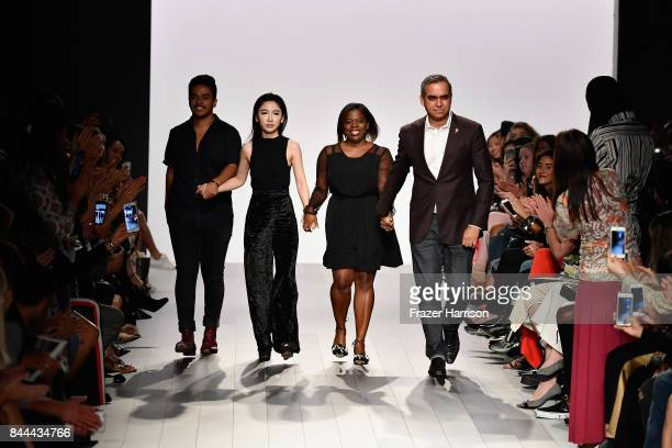 Designer Bibhu Mohapatra walks the runway for Bibhu Mohapatra Fashion Show at Gallery 1 Skylight Clarkson Sq on September 8 2017 in New York City