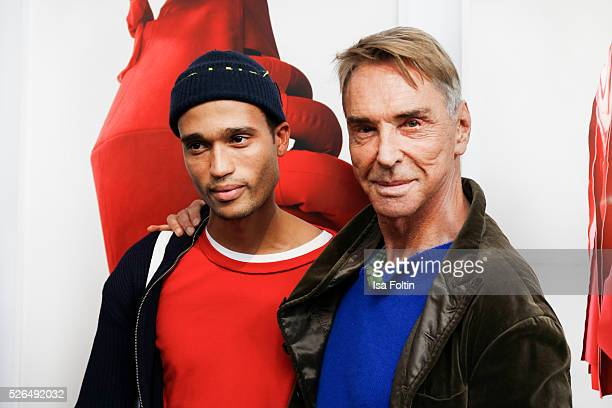 Designer Bobby Kolade and designer Wolfgang Joop at 'Der Berliner Fotografie Salon Edition 1' on April 29 2016 in Berlin Germany