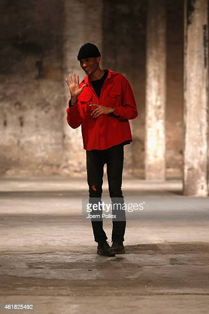 Designer Bobby Kolade attends his runway show during the MercedesBenz Fashion Week Berlin Autumn/Winter 2015/16 at Halle am Berghain on January 20...