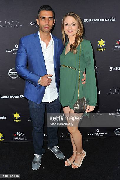 Designer Bobby Schandra and actress Ali Faulkner attend the 2nd Annual Hollywood Cares Poker Invitational at OHM Nightclub on March 31 2016 in...