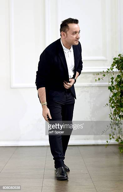 Designer Bora Aksu appears on the runway after the Bora Aksu show during London Fashion Week Spring/Summer collections 2017 on September 16, 2016 in...