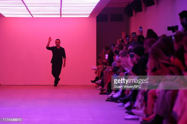 Designer Bora Aksu on the runway during the finale at the BORA AKSU show during London Fashion Week September 2019 at the BFC Show Space on September...