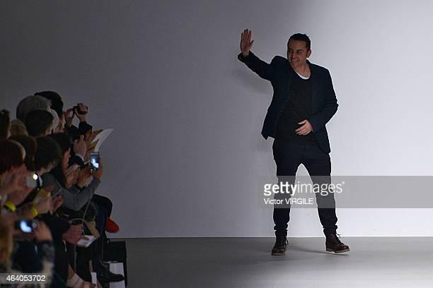 Designer Bora Aksu walks the runway at the Bora Aksu show during London Fashion Week Fall/Winter 2015/16 on February 20, 2015 in London, England.