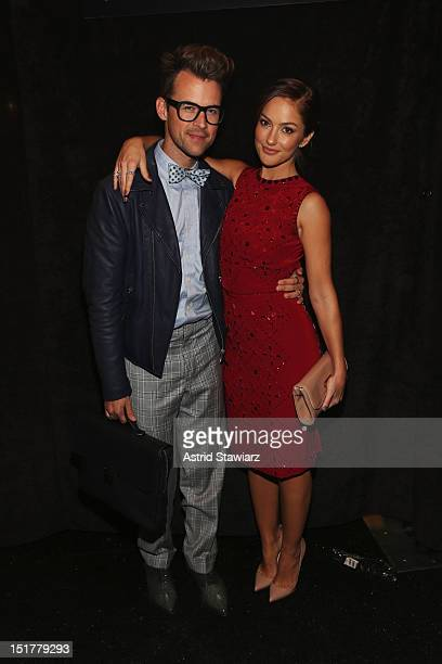 Designer Brad Goreski and actress Minka Kelly pose backstage at TRESemme at Jenny Packham Spring 2013 during Mercedes-Benz Fashion Week at The Studio...