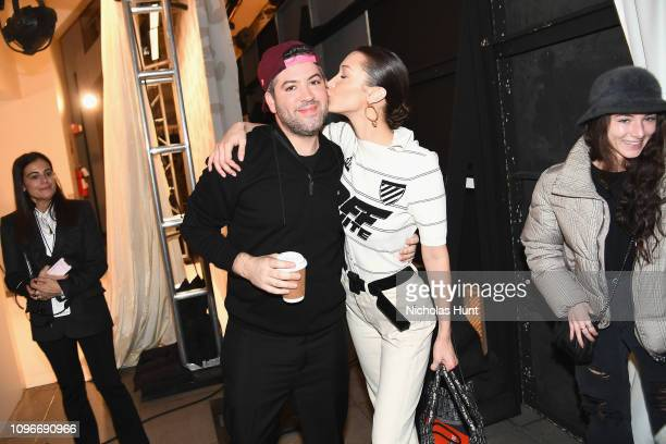 Designer Brandon Maxwell and Bella Hadid attend the Brandon Maxwell front row during New York Fashion Week The Shows at Penn Plaza Pavilion on...