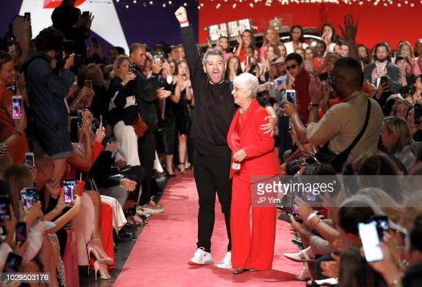 Designer Brandon Maxwell and his grandmother Louise Johnson walk the runway at Brandon Maxwell during New York Fashion Week at Classic Car Club on...
