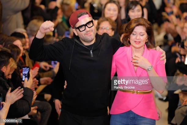 Designer Brandon Maxwell and his Mom Pam Woolley walk the runway after his Brandon Maxwell Runway show February 2019 during New York Fashion Week at...