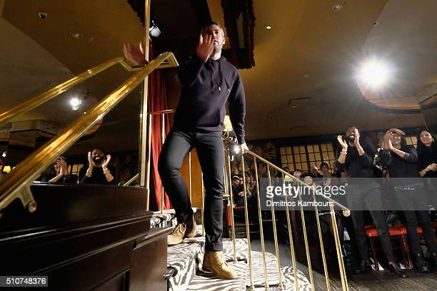 Designer Brandon Maxwell appears on the runway at the Brandon Maxwell A/W 2016 fashion show during New York Fashion Week at The Monkey Bar on...