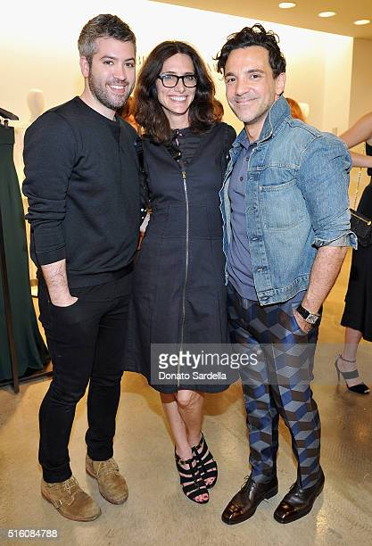 Designer Brandon Maxwell host Elizabeth Stewart and George Kotsiopoulos attend Saks Fifth Avenue launch of Brandon Maxwell Spring 2016 Collection at...