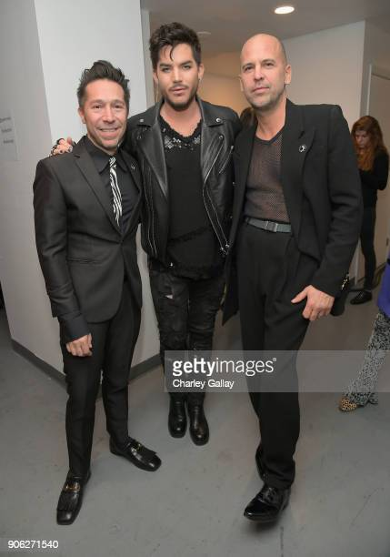 Designer Brian Wolk Adam Lambert and designer Claude Morais attend the Wolk Morais Collection 6 Fashion Show at The Hollywood Roosevelt Hotel on...