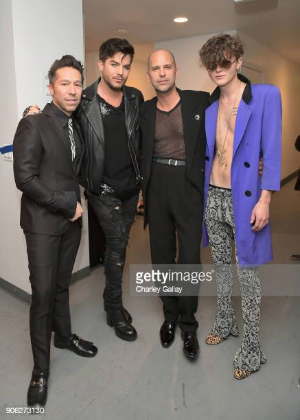 Designer Brian Wolk Adam Lambert designer Claude Morais and Austin Kolbe attend the Wolk Morais Collection 6 Fashion Show at The Hollywood Roosevelt...