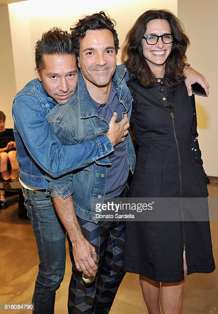 Designer Brian Wolk George Kotsiopoulos and host Elizabeth Stewart attend Saks Fifth Avenue launch of Brandon Maxwell Spring 2016 Collection at Saks...