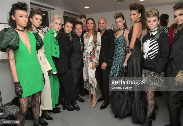 Designer Brian Wolk Heidi Klum and designer Claude Morais attend the Wolk Morais Collection 6 Fashion Show at The Hollywood Roosevelt Hotel on...