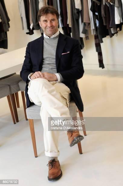 Designer Brunello Cucinelli showcases his Brunello Cucinelli womenswear collection during Milan Fashion Week Autumn/Winter 2009 at the Brunello...