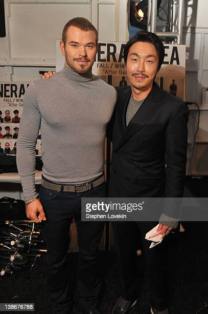 Designer Bumsuk Choi and actor Kellan Lutz backstage at the General Idea Fall 2012 fashion show during MercedesBenz Fashion Week at The Studio at...