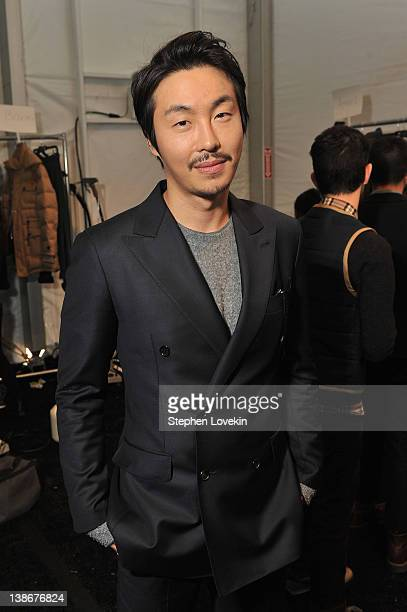 Designer Bumsuk Choi backstage at the General Idea Fall 2012 fashion show during MercedesBenz Fashion Week at The Studio at Lincoln Center on...