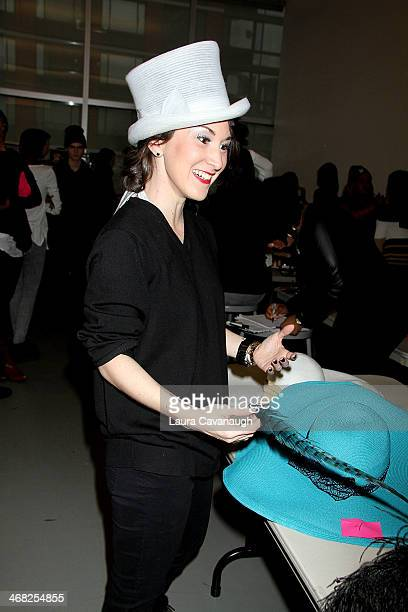 Designer Caitlin Kelly backstage at the Hairshion fashion show during MercedesBenz Fashion Week Fall 2014 at Alvin Alley Studios on February 9 2014...