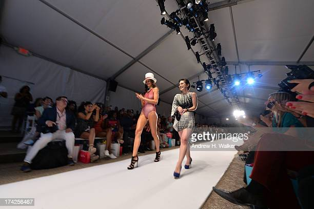 Designer Caitlin Kelly walks the runway at the Caitlin Kelly show during MercedesBenz Fashion Week Swim 2014 at the Raleigh on July 22 2013 in Miami...