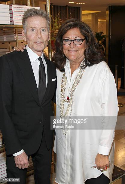 Designer Calvin Klein and Fern Mallis attend Fashion Lives Book Launch at Saks Fifth Avenue on April 20 2015 in New York City