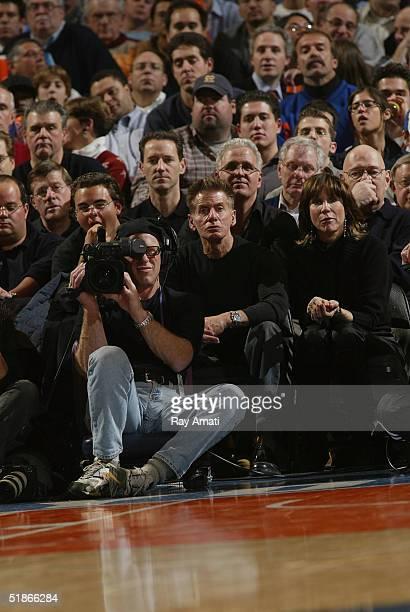 Designer Calvin Klein attends the New York Knicks v Detroit Pistons NBA game at Madison Square Garden on December 15 2004 in New York